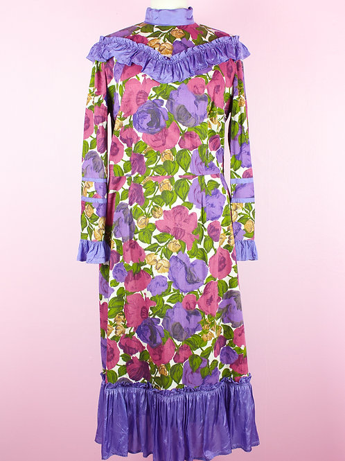 Purple rose - Vintage Dress - M