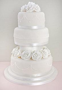 Classic White Rose Wedding Cake