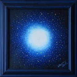 č.379, Temná noční obloha, 2020, olej na plátně, rozměr plátna 30 x 30 cm, cena obrazu s rámem 3 500,-Kč