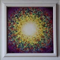 č.387, Radost, 2020, olej na plátně, rozměr plátna 40 x 40 cm, cena obrazu s rámem 5 000,- Kč