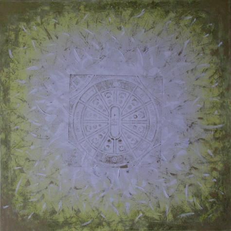 č.231, Mandala, 2013, olej na plátně, tisk, rozměr plátna 90 x 90 cm, cena brazu s rámem 15 000,- Kč