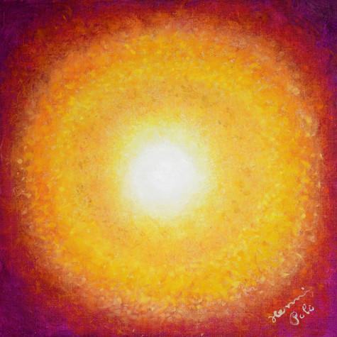č.419, Žlutá sluneční mandala, 2020, olej na plátně, rozměr plátna 80 x 80 cm, cena obrazu s rámem 12 000,- Kč