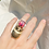 Thumbnail: Anel Escaravelho Faraônico Rubelita bicolor