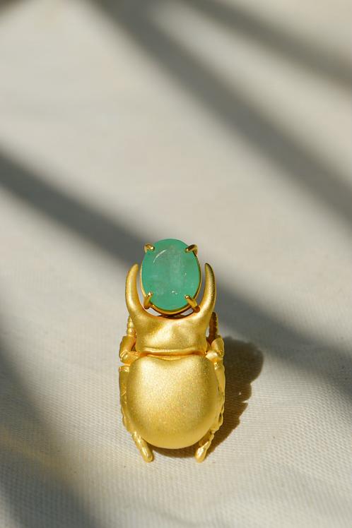 Anel Escaravelho Faraônico Mint