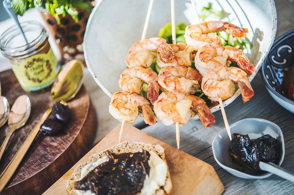 Chilly Date - Wasabi date spread Shrimp Skewers. Photo credit: Vera Schoppe