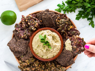 California Avocado Dip with Chilly Date Crackers