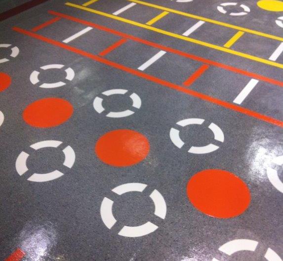 line marking to rubber gymnasium floor