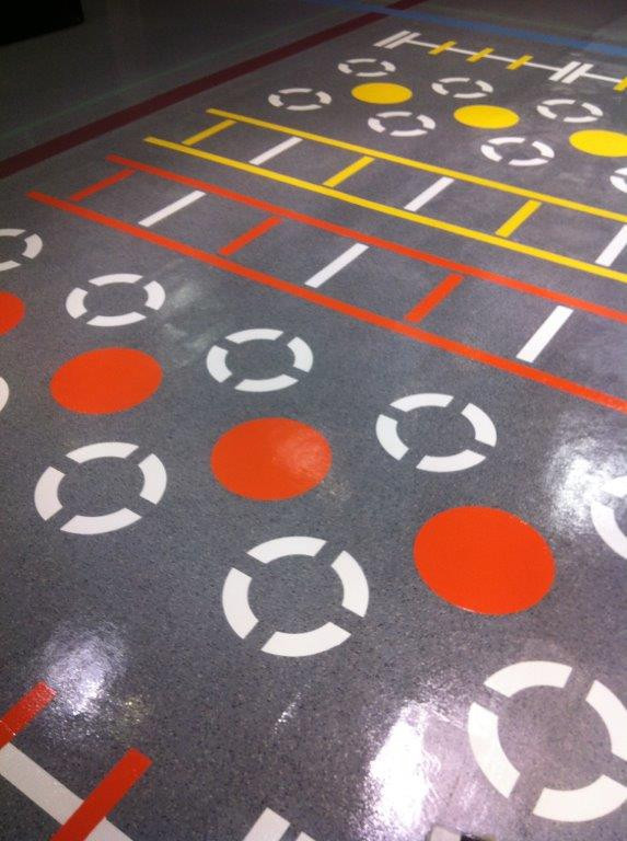 line marking to rubber gymnasium floor