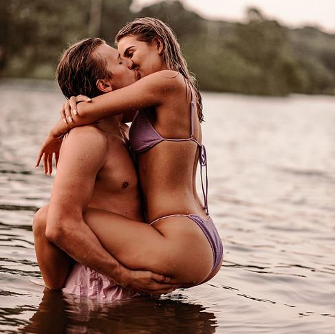 Adventurous couple at the lake in Manhattan Kansas