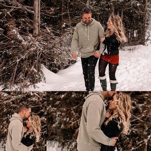 Snow in the mountain couple shoot