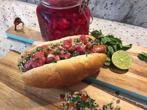 Our Lebanese Hot Dog - Pink Pickled Cauliflower Recipe