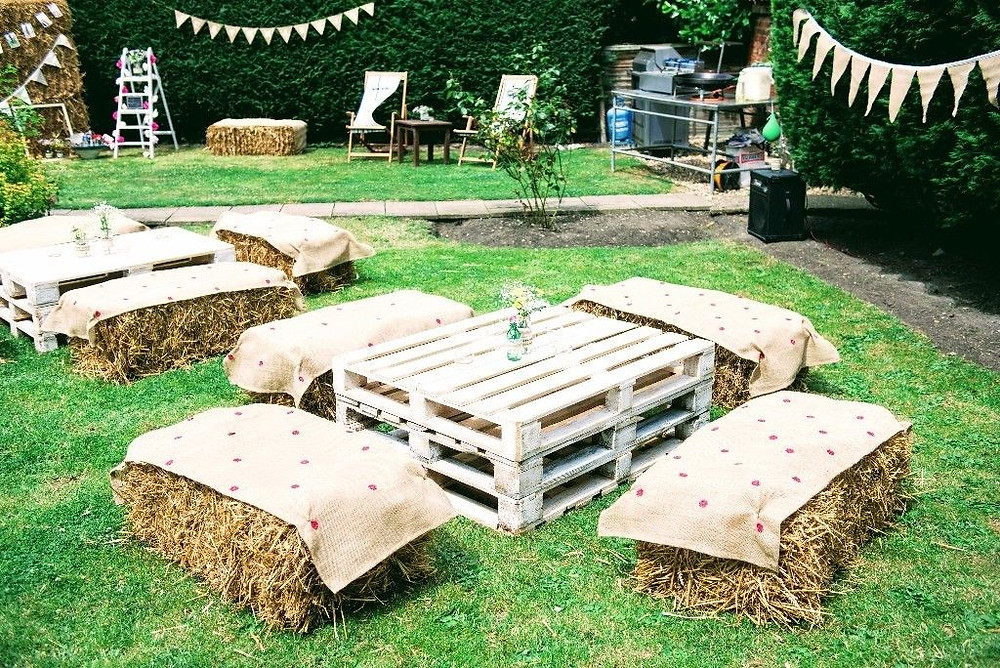 event catering large groups seating area with hay bales