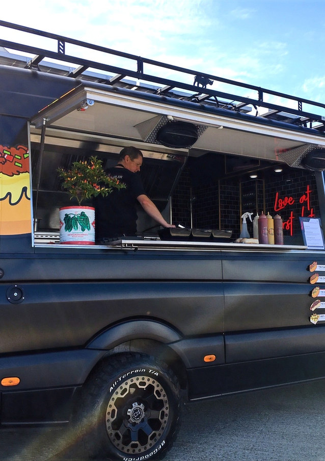 Our Modern Mercedes Food Truck at a Festival Style Wedding