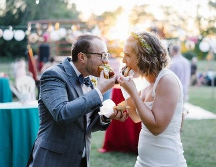 Wedding Couple Devouring Hot Dogs!
