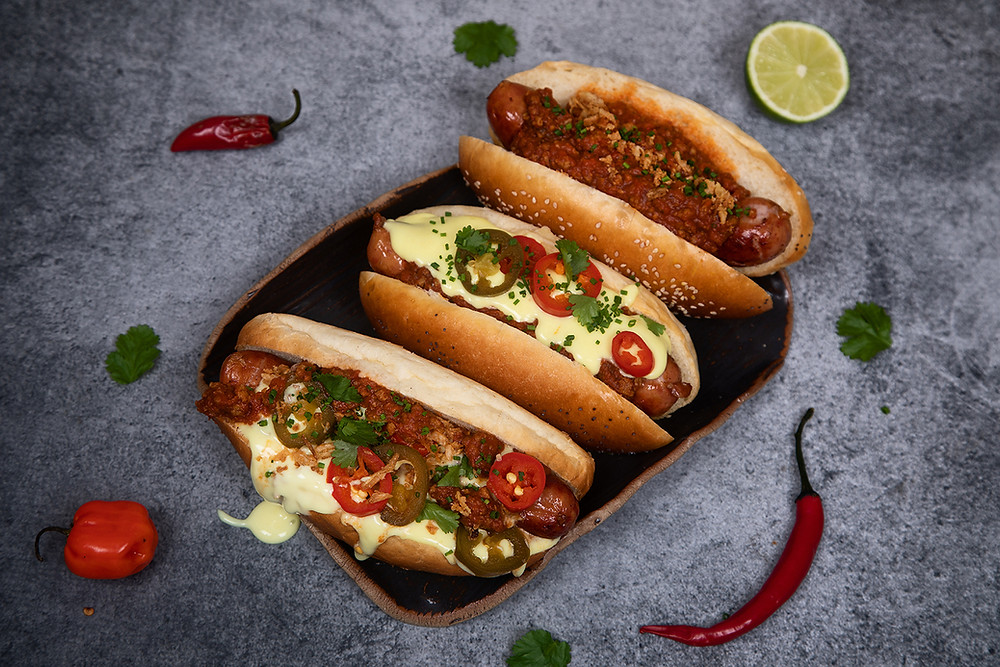 Selection of chilli dogs, chili dogs and chilli cheese dogs, gourmet hot dogs
