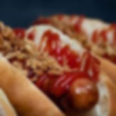 Close up of ChilliDogs gourmt hot dog with crispy fried onions