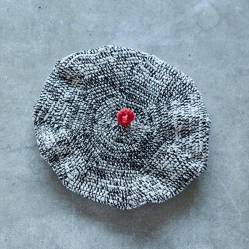 ベレー帽 黒×白ミックス