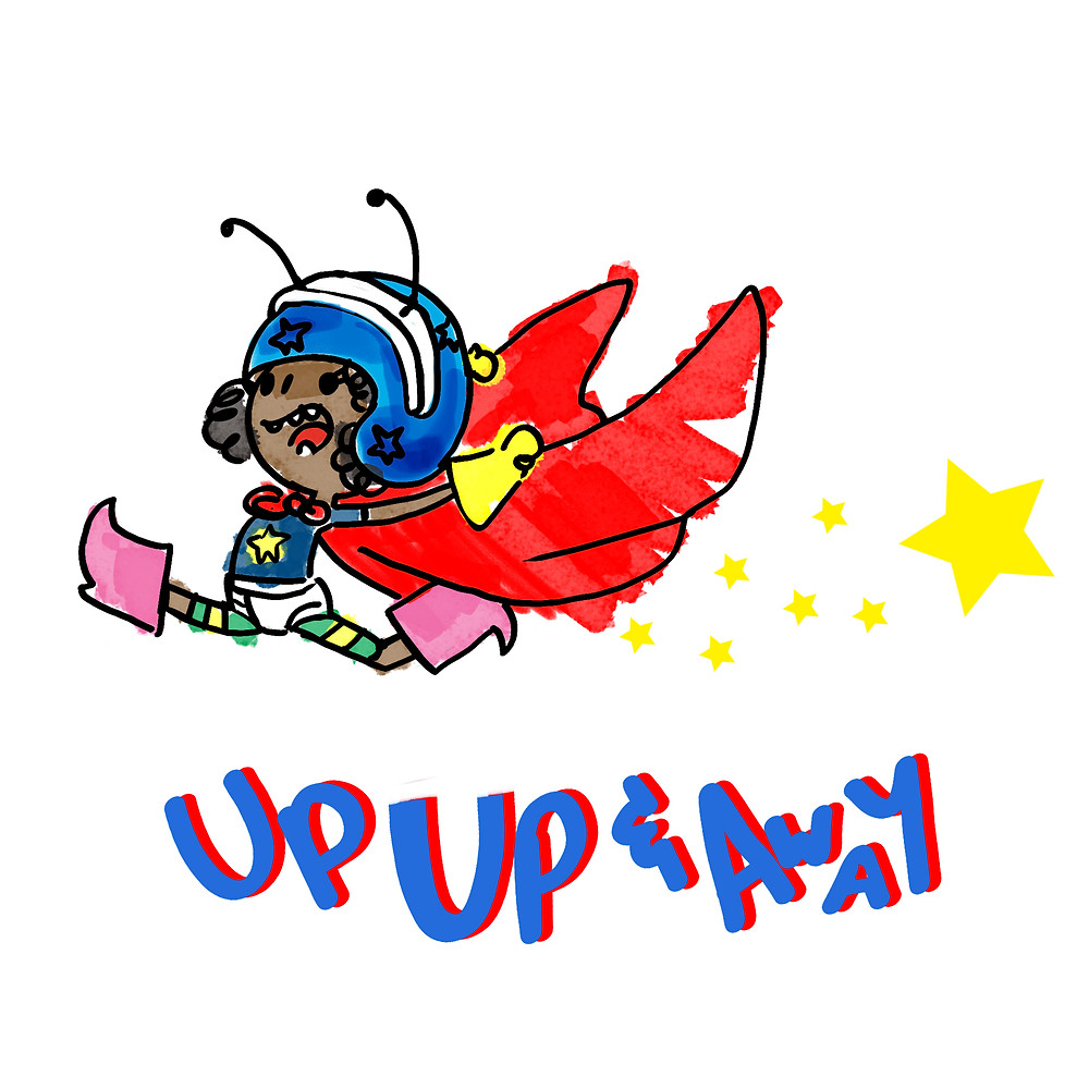 silly superhero graphic up up and away