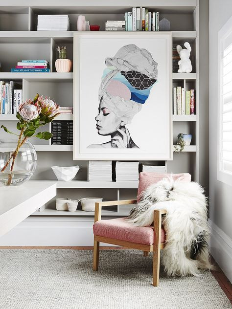 Displaying Art on Bookcases | Poppsee
