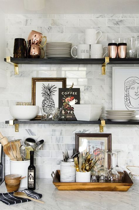 Using Artwork to Style Your Kitchen Shelves | Poppsee
