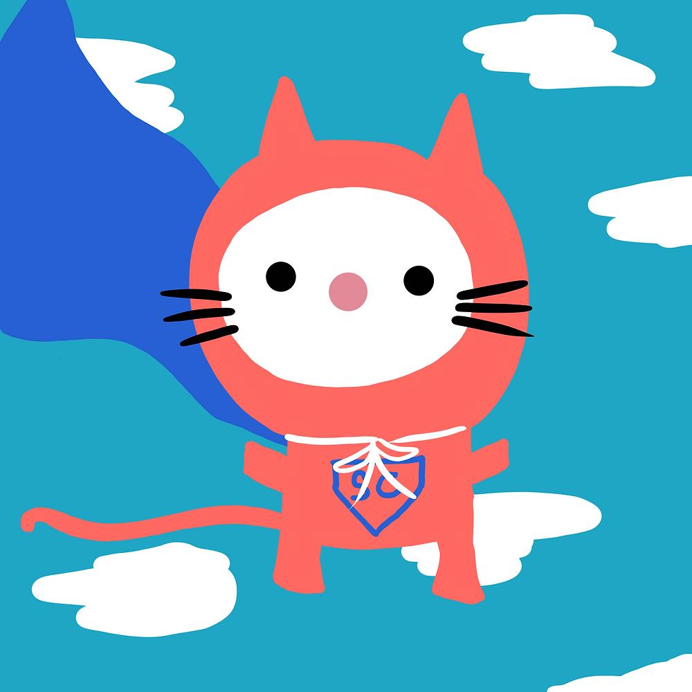 superhero cat cute kids graphic