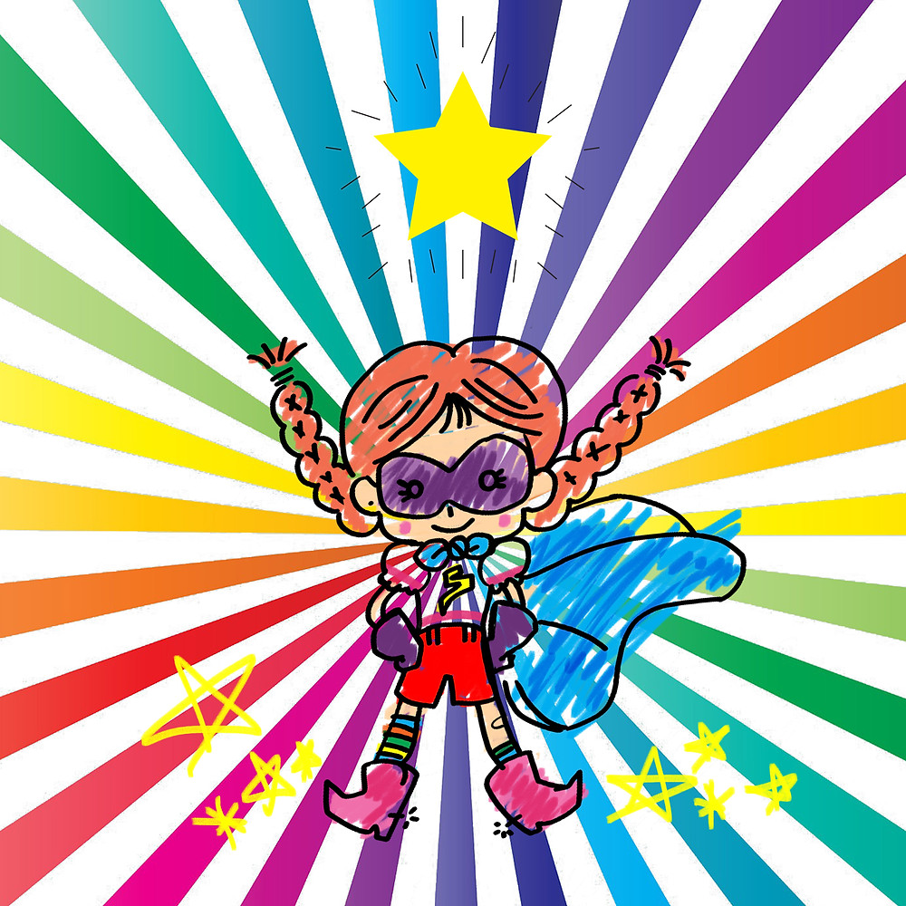 rainbow girl superhero with stars and pink boots