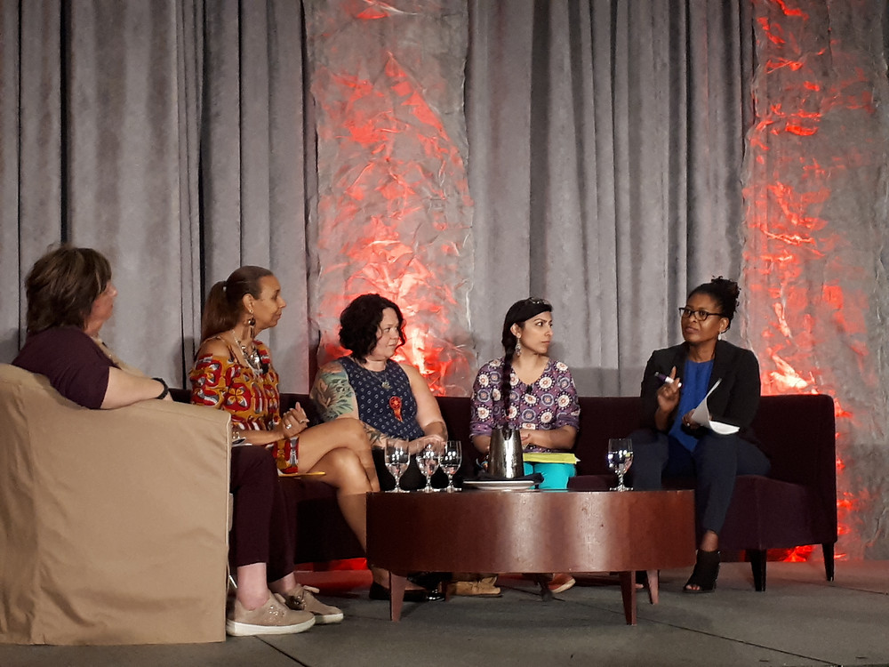 Bonnie Brayton, Marie Clarke Walker, Kaummajuk Holly Jarrett, Daisy Kier, with Moderator, Paulette Senior, CEO and President, Canadian Women's Foundation