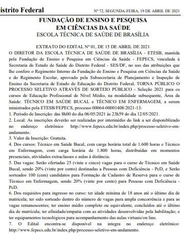 A Escola Técnica de Saúde de Brasília – ETESB, abre seleção para o Curso de
