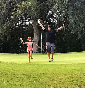 First time playing golf with my daughter...turned into a spelling test life lesson!