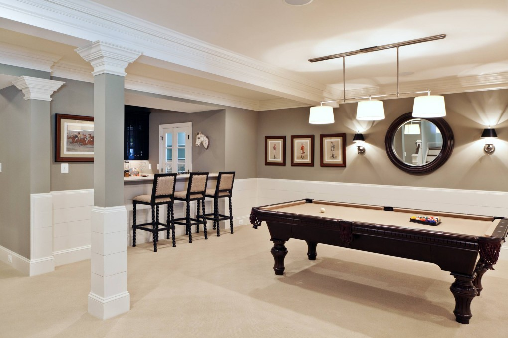 basement-remodeling-pictures-with-beige-carpet-and-pool-table-plus-wall-paneling-with-best-grey-pain