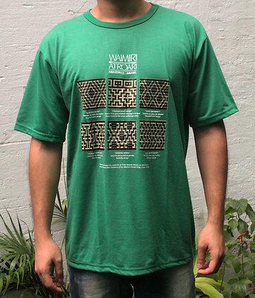 Camisa grafismo Waimiri Atroari masculina - verde