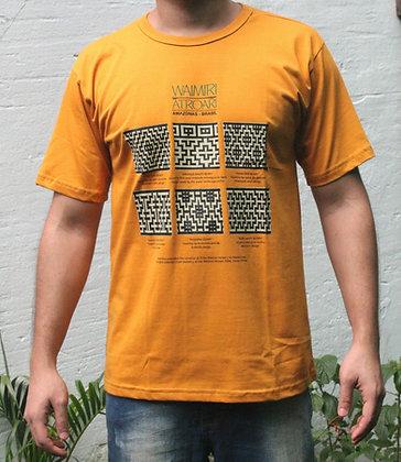Camisa grafismo Waimiri Atroari masculina - amarelo escuro