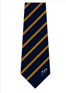 Custom striped golf club tie with tip motif