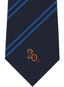 Image of woven club tie in mixed silk/polyester fabric