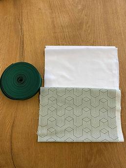 Pakket green&white stof + lint