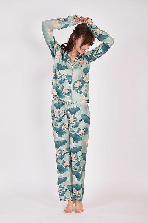 Dames pyjama pastel met lelies