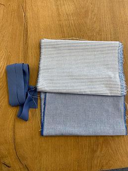 Pakket blue&stripe stof + lint
