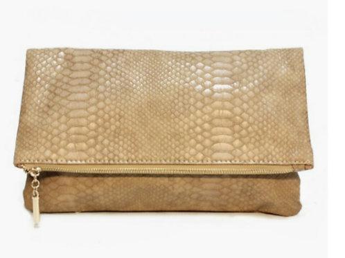Snakeskin Textured Handbag Clutch
