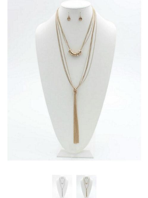 Two Layered Gold Fringe Necklace