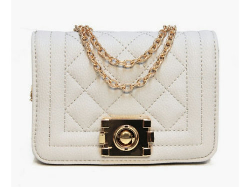 Chic Quilted Polished Handbag in White