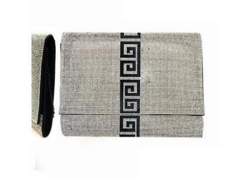 Crystal Clear & Black Greek Clutch Handbag