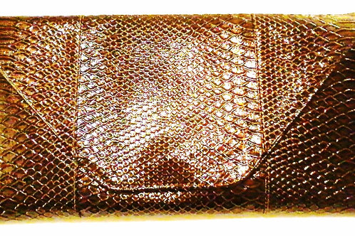 Copper Bronze Faux Snakeskin Clutch