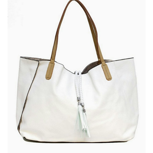 Summer Braided White Tassel Carry-All Tote