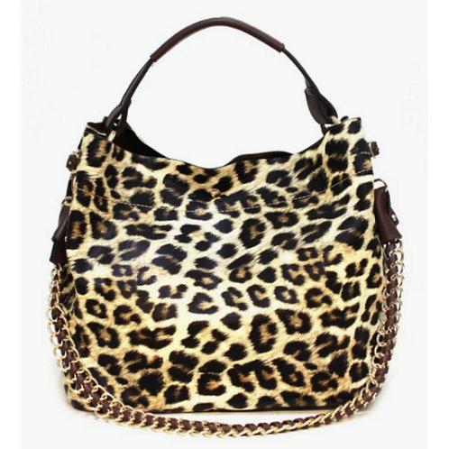 Leopard Print Hobo Handbag w/Cosmetic Pouch