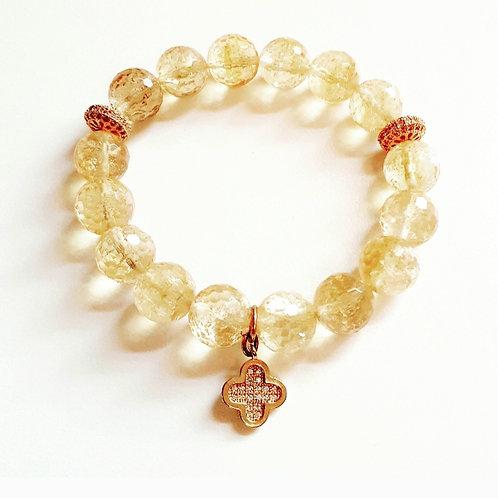 """Citrine Semi-Precious Bracelet """"Crystal Charm"""""""