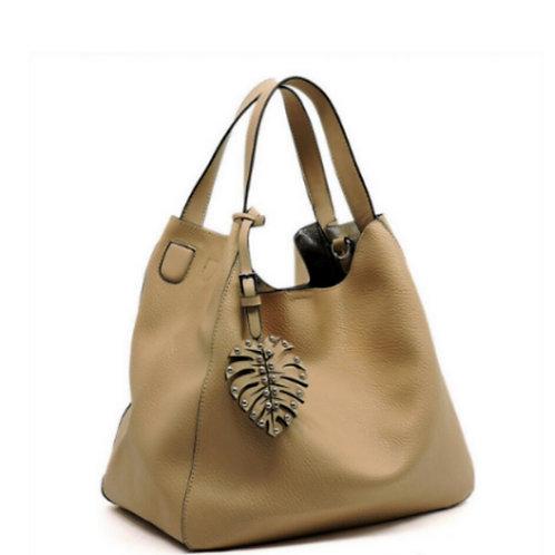 Beige Leaf Handbag