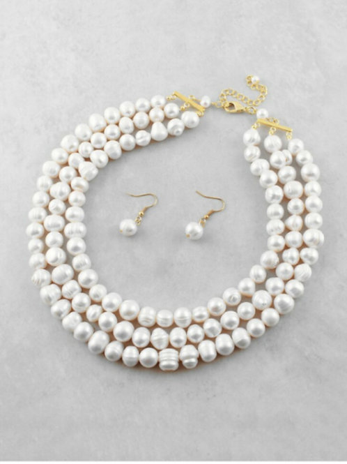 3-Strand Freshwater Pearl Necklace