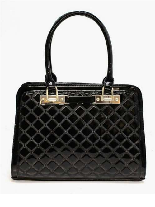 Chic Quilted Gloss Handbag Tote in Black