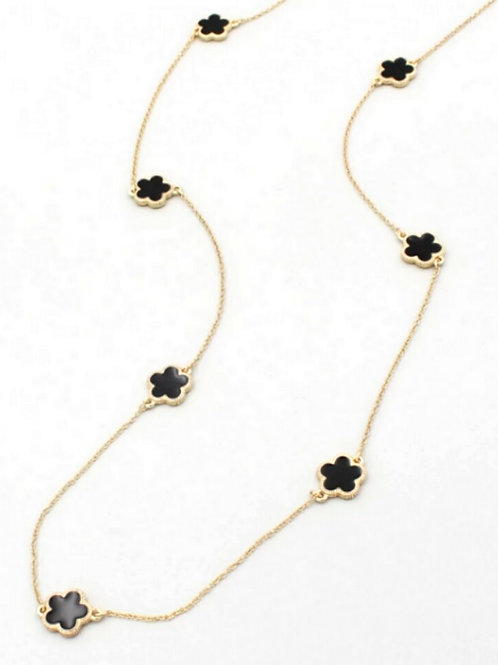 Long Black Clover Necklace