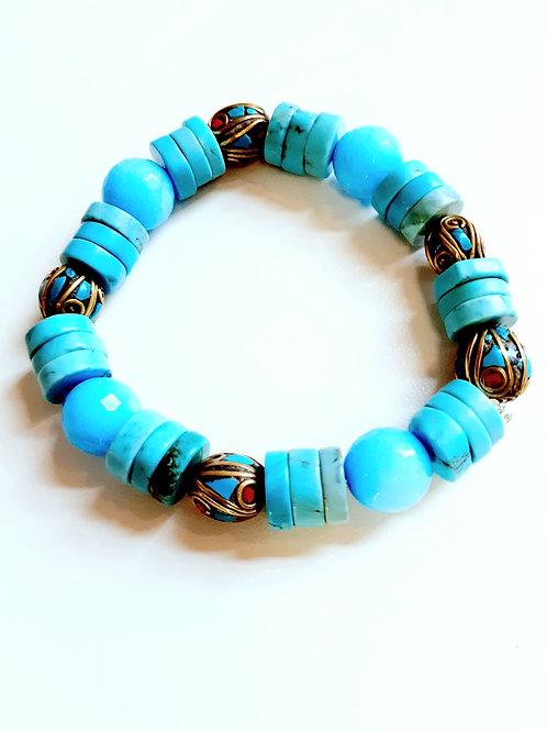 "Turquoise Semi-Precious Bracelet ""Cylinder Cut"""